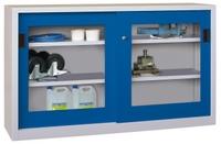PAVOY Schiebetürenschrank, HxBxT 1000x1500x600mm, je Seite 2 gepulverte Einlegeböden,  | günstig bestellen bei assistYourwork