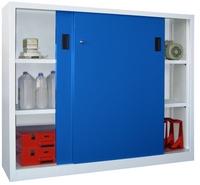 PAVOY Schiebetürenschrank, HxBxT 1200x1500x400mm, je Seite 2 gepulverte Einlegeböden | günstig bestellen bei assistYourwork
