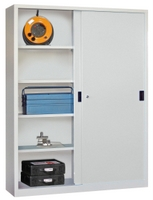 PAVOY Schiebetürenschrank, HxBxT 1950x1500x400mm, je Seite 4 gepulverte Einlegeböden | günstig bestellen bei assistYourwork