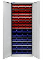 Flügeltürenschrank mit 14 Fachböden + 78 Sichtlagerkästen, 1950x710x300mm | günstig bestellen bei assistYourwork