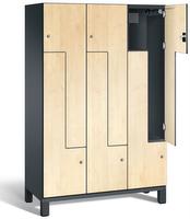 Z-Garderobenschrank S 6000 CAMBIO, Breite 1200 mm, für 6 Personen, HPL-Dekortüren | günstig bestellen bei assistYourwork