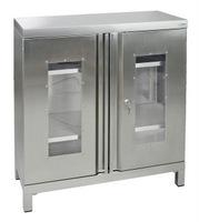 CABINOX Edelstahl-Sichtfensterschrank 470-011-20, mit Sockelfüßen, 1000x900x400mm | günstig bestellen bei assistYourwork
