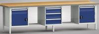 Werkbank-Standard 3000 mm, G462-3000-2091, 1 x 3 Schubladen 2 x 1 Türe+Schublade | günstig bestellen bei assistYourwork