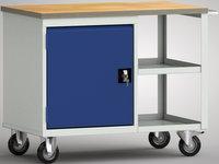 Fahrbare Werkbank-Standard 1000 mm, WS822N-1000M20-E7026, mit zwei offenen Abladefächern | günstig bestellen bei assistYourwork