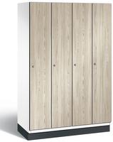Spind S 6000 CAMBIO, HPL Holz-Dekortüren 4 Abteile á 300mm mit Sockel | günstig bestellen bei assistYourwork