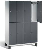Doppelstöckiger Garderobenschrank S 6000 CAMBIO, 2x4 Abteile á 300mm, Stahltüren doppelwandig | günstig bestellen bei assistYourwork