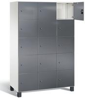 Fächerschrank S 7000 Prefino - 5 Fächer übereinander, 5x3 Abteile á 400mm, mit Glastüren | günstig bestellen bei assistYourwork