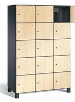 Spind S 7000 Prefino - 5 Fächer übereinander, 5x3 Abteile á 400mm, mit HPL-Dekortüren | günstig bestellen bei assistYourwork