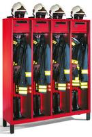 Feuerwehrschrank 1-100451, Füße, 4 Abteile, Wertfach, klappbarer Helmhalter auf Schrankdach | günstig bestellen bei assistYourwork