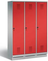 Garderobenschrank Evolo 49020-32, 3 Abteile mit Stahltür á 400 mm, auf Sockel | günstig bestellen bei assistYourwork