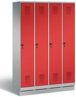Stahl Garderobenschrank Evolo S3000 4 Abteile á 300mm, mit MDF Dekortüren  | günstig bestellen bei assistYourwork