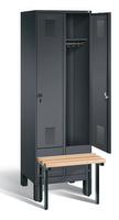 Garderobenschrank Evolo 49030-20, 2 Abteile á 300 mm, vorgebaute Sitzbank | günstig bestellen bei assistYourwork