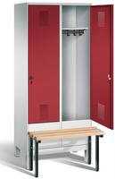 Garderobenschrank Evolo 49030-22, 2 Abteile á 400 mm, vorgebaute Sitzbank | günstig bestellen bei assistYourwork