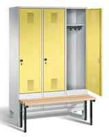 Garderobenschrank Evolo 49030-32, 3 Abteile á 400 mm, vorgebaute Sitzbank | günstig bestellen bei assistYourwork