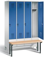 Garderobenschrank Evolo 49030-40, 4 Abteile á 300 mm, vorgebaute Sitzbank | günstig bestellen bei assistYourwork