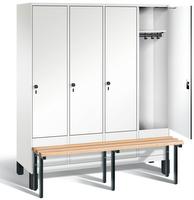 Garderobenschrank Evolo 49030-42, 4 Abteile á 400 mm, vorgebaute Sitzbank | günstig bestellen bei assistYourwork