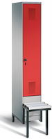 Garderobenschrank Evolo 49040-10, 1 Abteil á 300 mm, tiefergelegtes Sitzbank-Untergestell | günstig bestellen bei assistYourwork