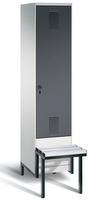 Garderobenschrank Evolo 49040-12, 1 Abteil á 400 mm, tiefergelegtes Sitzbank-Untergestell | günstig bestellen bei assistYourwork