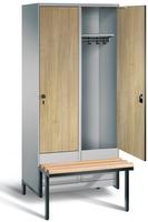 Garderobenschrank Evolo 49040-22, 2 Abteile á 400 mm, tiefergelegtes Sitzbank-Untergestell   günstig bestellen bei assistYourwork