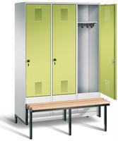 Garderobenschrank Evolo 49040-32, 3 Abteile á 400 mm, tiefergelegtes Sitzbank-Untergestell | günstig bestellen bei assistYourwork