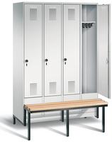Garderobenschrank Evolo 49040-40, 4 Abteile á 300 mm, tiefergelegtes Sitzbank-Untergestell | günstig bestellen bei assistYourwork