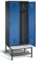 Garderobenschrank Evolo 49050-22, 2 Abteile á 400 mm, untergebaute Sitzbank | günstig bestellen bei assistYourwork