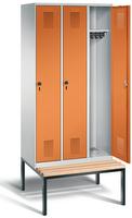 Garderobenschrank Evolo 49050-30, 3 Abteile á 300 mm, untergebaute Sitzbank   günstig bestellen bei assistYourwork