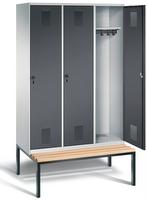 Garderobenschrank Evolo 49050-32, 3 Abteile á 400 mm, untergebaute Sitzbank | günstig bestellen bei assistYourwork