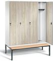 Garderobenschrank Evolo 49050-42, 4 Abteile á 400 mm, untergebaute Sitzbank | günstig bestellen bei assistYourwork