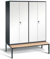Evolo Spind 49052-42 mit untergebauter Sitzbank, 4 Abteile für 2 Personen, Abteilbreite 400mm | günstig bestellen bei assistYourwork