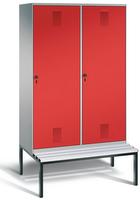 Evolo Garderobenschrank 49250-40, mit Sitzbank, je eine Tür über zwei Abteile (4 x 300 mm)  | günstig bestellen bei assistYourwork