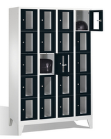 Select Schließfachspind mit Sichtfenstern 1-101601, 20 Fächer, Abteilbreite 300mm, auf Füßen | günstig bestellen bei assistYourwork