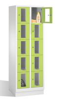 Select Fächerschrank 1-101612, mit Sichtfenstern 10 Fächer, Abteilbreite 300mm, auf Sockel | günstig bestellen bei assistYourwork