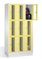 Select Fächerschrank 1-101607, mit Sichtfenstern 9 Fächer, Abteilbreite 300mm, auf Sockel   günstig bestellen bei assistYourwork