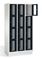 Select Fächerschrank 1-101610, mit Sichtfenstern 12 Fächer, Abteilbreite 300mm, auf Sockel | günstig bestellen bei assistYourwork