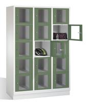 Select Fächerschrank 1-101618, mit Sichtfenstern 15 Fächer, Abteilbreite 400mm, auf Sockel | günstig bestellen bei assistYourwork