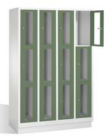 Select Fächerschrank 1-101608, mit Sichtfenstern 12 Fächer, Abteilbreite 300mm, auf Sockel | günstig bestellen bei assistYourwork