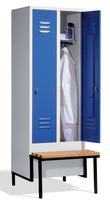 Garderobenspind 8042-22 mit tiefergelegter Sitzbank, 2 Abteile für 1 Person, Abteilbreite 400mm   günstig bestellen bei assistYourwork
