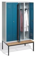 Select Kleiderspind 1-100260 mit untergebauter Sitzbank, 4 Abteile für 2 Personen, Abteilbreite 300mm | günstig bestellen bei assistYourwork
