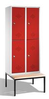 Select Umkleidespind 1-100278, doppelstöckig,  mit Sitzbank, 2x2 Abteile, Abteilbreite 400mm | günstig bestellen bei assistYourwork