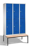 Select Umkleidespind 1-100279, doppelstöckig,  mit Sitzbank, 3x2 Abteile, Abteilbreite 400mm | günstig bestellen bei assistYourwork