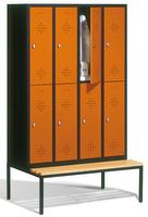 Select Schließfachspind 1-100277, doppelstöckig,  mit Sitzbank, 4x2 Abteile, Abteilbreite 300mm | günstig bestellen bei assistYourwork