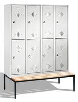 Select Umkleideschrank 1-100280, doppelstöckig,  mit Sitzbank, 4x2 Abteile, Abteilbreite 400mm | günstig bestellen bei assistYourwork