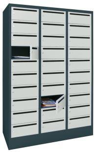 Postverteilerschrank mit 30 Fächern 1850x930x500mm, mit Drehriegelverschluß | günstig bestellen bei assistYourwork