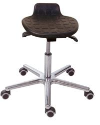 Drehhockermit PU-Sitz schwarz komfortabel-variabel - mit Gleitern | günstig bestellen bei assistYourwork
