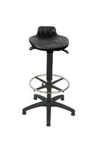 Stehhilfe mit PU-Sitz schwarz komfortabel-variabel - mit Fußring | günstig bestellen bei assistYourwork