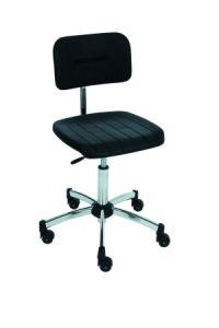 ESD- Laborstuhl, PU-Sitz schwarz, 440-640mm, mit Rollen | günstig bestellen bei assistYourwork