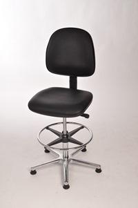 Arbeitsstuhl mit großem Sitz und Rücken mit Kunstleder schwarz und Fußring | günstig bestellen bei assistYourwork