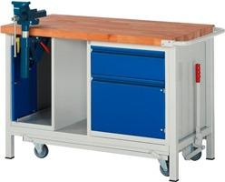 Werkbank A5-8181I6-12F, mit absenkbarem Fahrgestell, inkl. Schraubstock, Breite 1250 mm | günstig bestellen bei assistYourwork