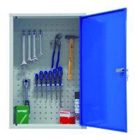 Werkzeug-Wandschrank mit einer Tür, inkl. 8-teiligem Hakenset, HxBxT 750x500x200mm   günstig bestellen bei assistYourwork